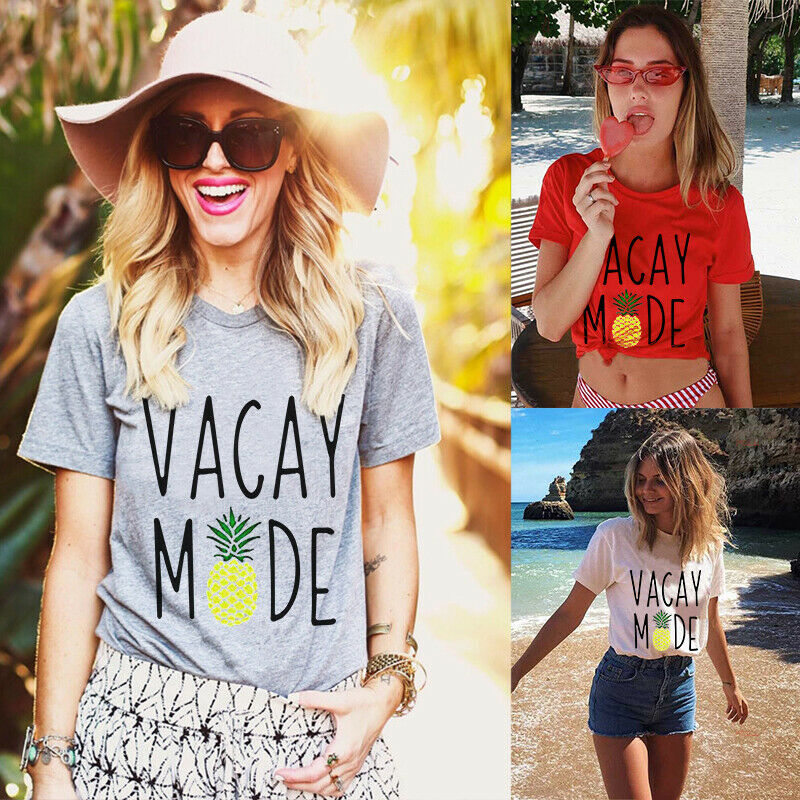 Womens Pineapple Vacay Mode Shirt Funny Letters Print Vacation T-Shirt Tops