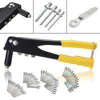 60pcs Set Pop Riveter Gun Kit Blind Rivet Hand Tool Set Gutter Repair Heavy Duty Hand