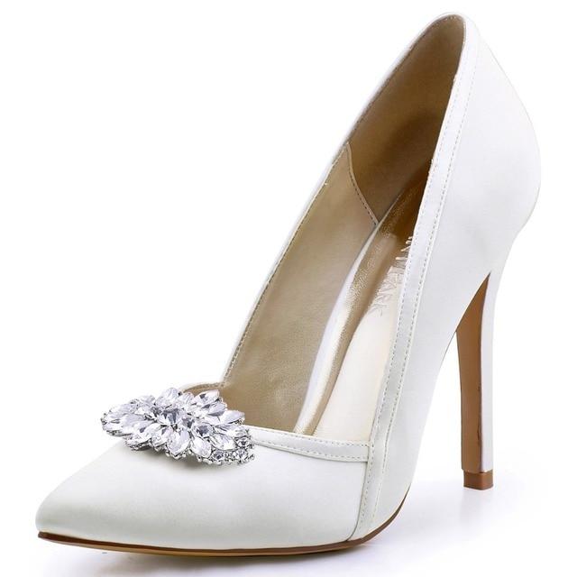 c8813357de8 Ivory Women Wedding Pumps Pointed Toe High Heel V Cut Slip on Satin Flower  Clips Bridal Court Evening Shoes HC1603 Navy Blue