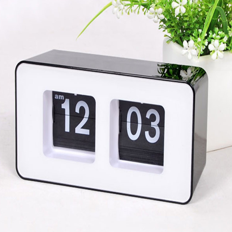 digital auto flip desk clock classic stylish retro desktop flip page alarm clocks household. Black Bedroom Furniture Sets. Home Design Ideas