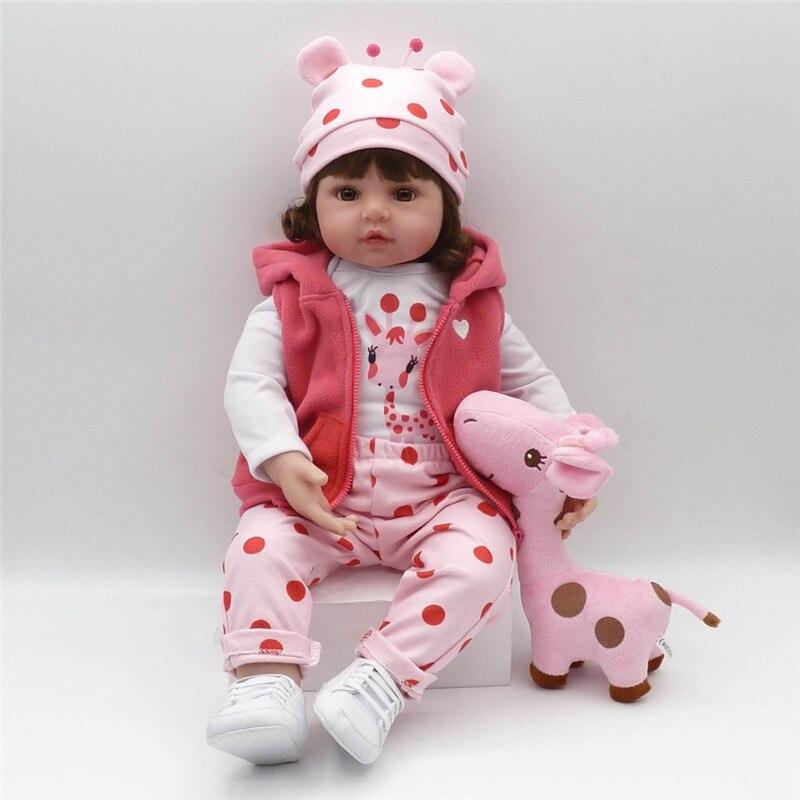 Baby Reborn Babe Puppe 47 cm Weiche Silikon Wiedergeburt puppe Schlank Silikon Puppen menina Puppe Weihnachten Geschenk Kind begleiter