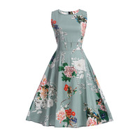 Women Summer Dress 2017 Plus Size Clothing Audrey Hepburn Floral Robe Retro Swing Casual 50s Vintage
