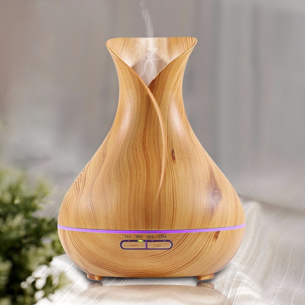 Vase Shape Aroma Diffuser Large Capacity Ultrasonic Cool Mist Air Humidifier with LED Lights Electric Essential Oil Mist Maker 2017 new 200ml capacity egg shape ultrasonic humidifier with changing led night light diffuser aroma oil mist maker air freshner