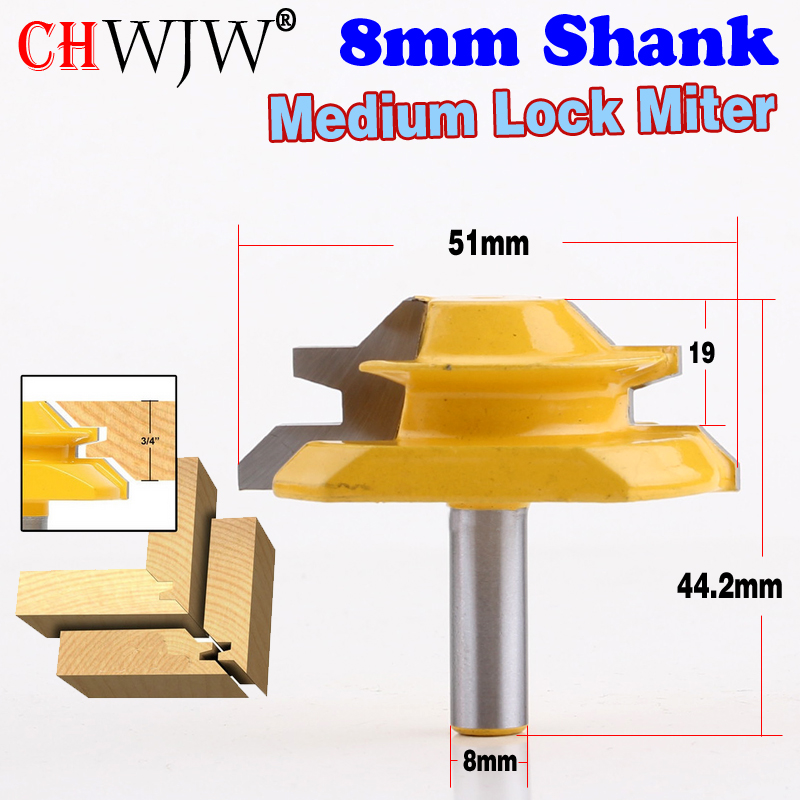 1PC 8mm Shank Medium Lock Miter Router Bit - 45 Degree - 3/4 Stock woodworking milling cutter/milling tools /carbide end mill 16pcs 14 25mm carbide milling cutter router bit buddha ball woodworking tools wooden beads ball blade drills bit molding tool
