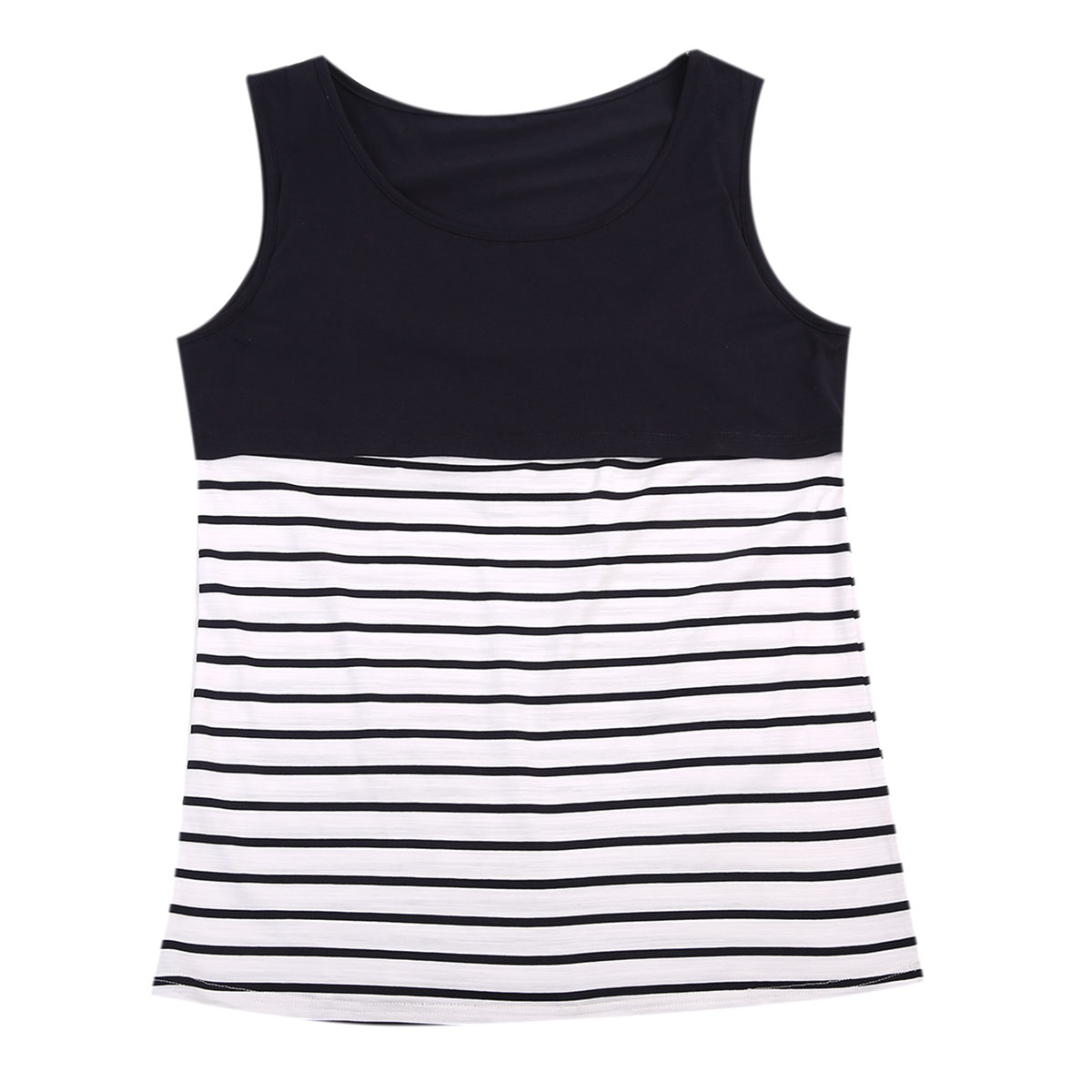Pudcoco Womens Maternity Nursing Tank Top Sleeveless Comfy Breastfeeding Striped Clothes