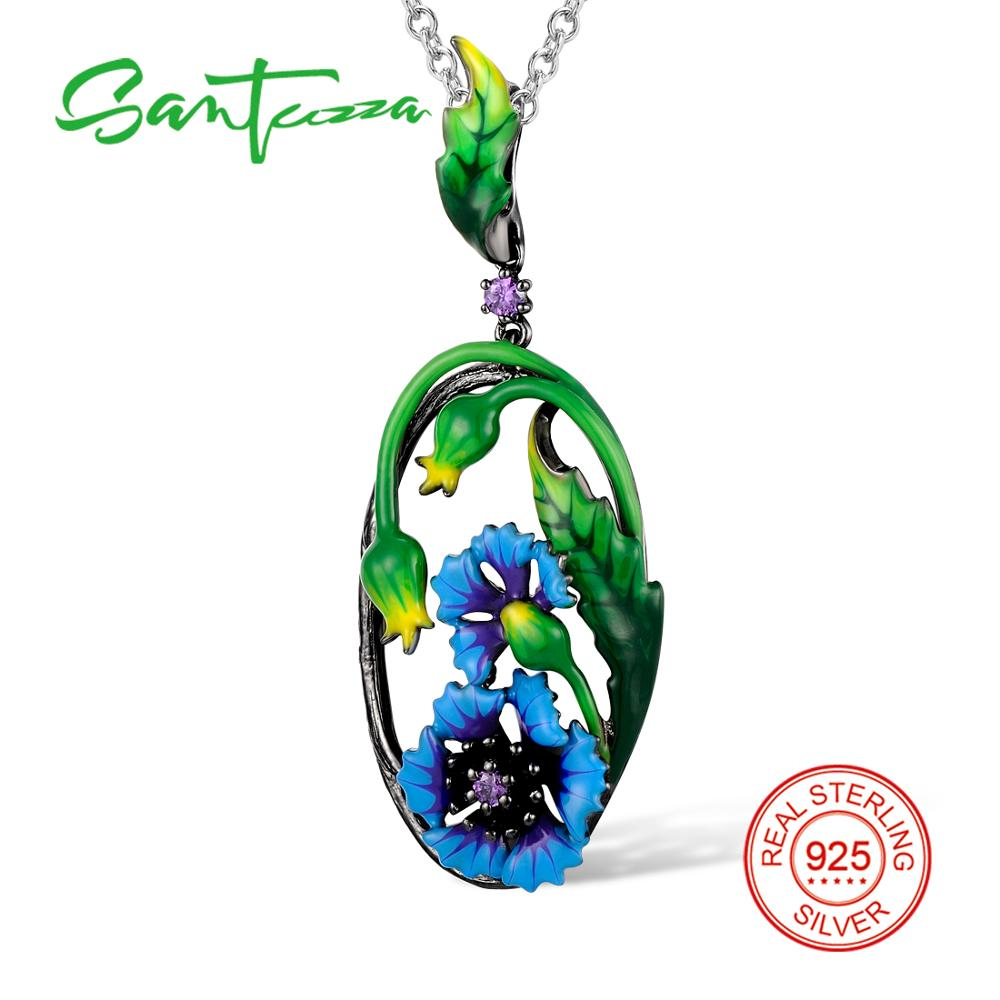 SANTUZZA Silver Necklaces Pendants For Women Blue Flower Pendant fit for Necklace 925 Sterling Silver Fashion Jewelry Enamel rainmarch 925 sterling silver pendant for women necklace blue enamel flower necklace pendant with cz enamel jewelry accessories