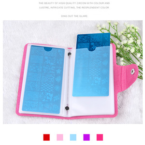 Image 2 - 1Pcs 24 Slots Nail Art Stamp Plate Stamping Plates Holder Storage Bag Cases 4 Colors Choice Stamp Bag Organizer For Nails Plates