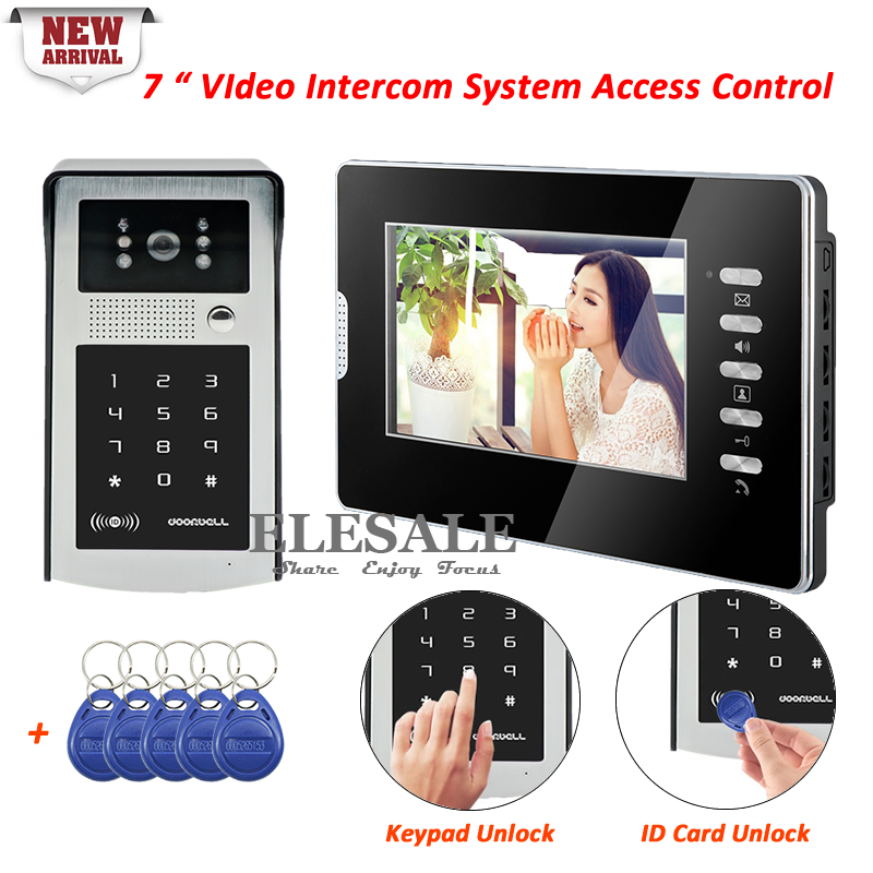 New Wired Video Door Phone System RFID Card Keypad Password Unlock For Home Intercom And Security 1 Camera 1 Monitor + 5Keyfobs 1v4 home security 7inch tft lcd monitor video door phone intercom doorbell night vision with rfid card password unlock camera