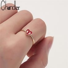 Chandler 2019 Foot Print Baby Feet Rings Red Enamel Love Heart Bague Couple Promised Band Statement Romantic Bijoux Anillos Anel(China)