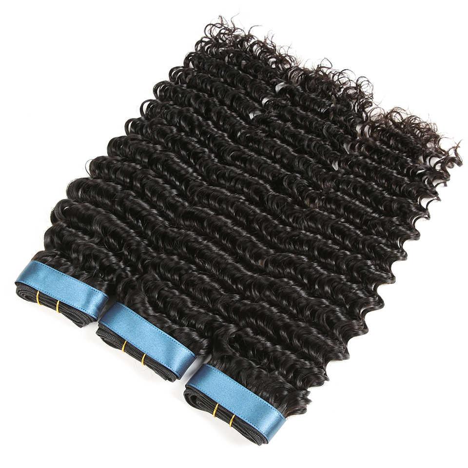 Mechones de cabello indio Karizma de ondas profundas con cierre 4 Uds. Extensiones de cabello humano de parte libre de Color Natural no tejido de cabello Remy