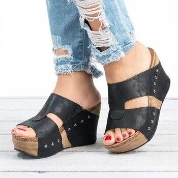 Women Sandals Peep Toe Wedges Shoes For Women Flip Flops Plus Size Platform Sandals Summer Chaussures Femme High Heels Sandals