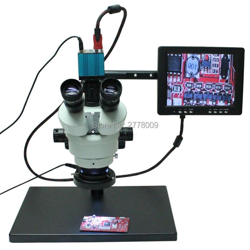 Continuous Zoom Binocular Visual 7X-90X Trinocular Stereo Microscope+HD HDMI USB Microscope Camera+8-inch HD Monitor+Holder  continuous zoom binocular visual 7x 90x trinocular stereo microscope digital microscope camera vga cvbs usb av tv outputs