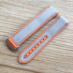 Image 5 - 20mm 22mm Orange Blue Red Rubber Silicone With Nylon Watch Band Strap For OMEGA Planet Ocean Seamaster 300 Speedmaster Bracelet