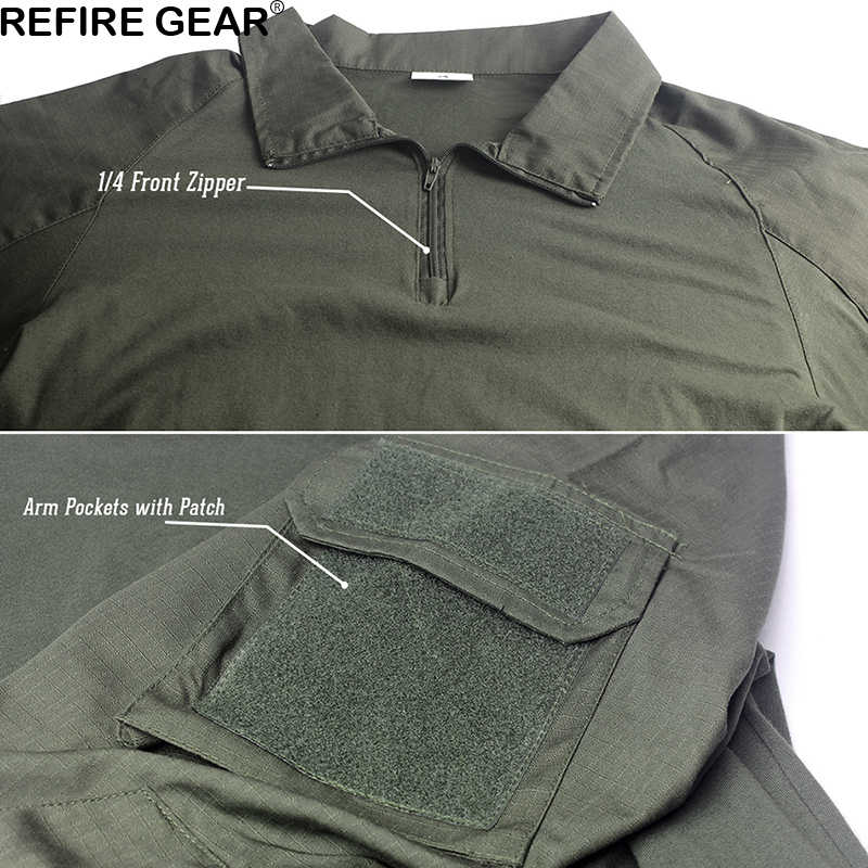 Refire Gear, camiseta para el aire libre para hombre, manga larga, caza táctica militar, camisetas de ejército, uniforme para senderismo, camisa transpirable, 9 colores