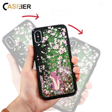 CASEIER Bling Cherry Flower Case For iPhone 6 6s Plus Liquid Quicksand Cat Cover X 7 8 Cartoon Patterned Capa