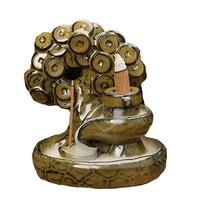شجرة الغنية رصاصة الغبار الصقيل السيراميك البخور الموقد سطح المكتب ديكور المنزل الدخان عودة تدفق مخروط البخور مبخرة q $
