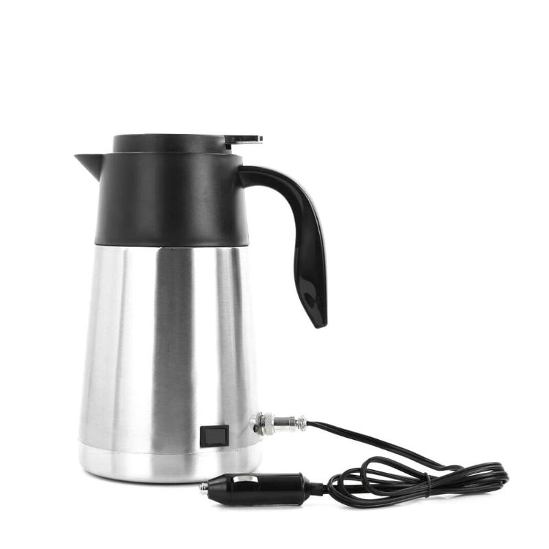 12V/24V 750ml/1300mL Electric Kettle Car Boiling Pot Stainless Steel With Cigarette Lighter Auto Accessories For Coffee