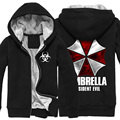 Mens Resident Evil Umbrella Logo Cremallera de Lana Súper Caliente Patrón Impreso Negro de Algodón Con Capucha Sudaderas Abrigos