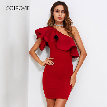 COLROVIE Red Ruffle Flounce One Shoulder Form Fitting Bodycon Summer Dress Slim Solid Women Dress Stretchy Party Dress