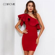 cb41fc0a301 COLROVIE красный оборка одно плечо облегающее Летнее платье Тонкий  однотонный женское платье эластичное вечерние платье
