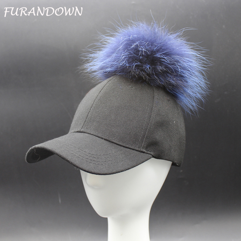 FURANDOWN Mens Hip Hop Hats Snapback Baseball Caps Women Mink Raccoon Fur pompom Hat With 15cm Fur ball 2015 brand winter woman s knitted beanie thick wool ladies knitted hats caps with genuine raccoon fur pompom hat for women w732