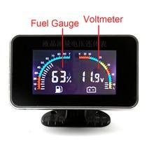 Fuel Gauge + Voltmeter Universal LCD Gauge Meter With Sensors Panel Instrumentation Voltmeter for Auto Voltage Meter Car цены