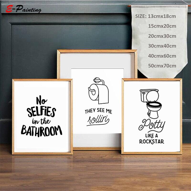 Carta citação arte cartaz sem selfies no banheiro sinal imprimível parede arte da lona pintura crianças casa decoração cartaz imagem