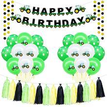Farm Theme Felt Happy Birthday Banner Balloons Tractor Construction Vehicle Party Decoration Kids Boy Favors