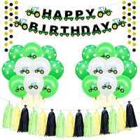 Thème de la ferme feutre joyeux anniversaire bannière ballons tracteur Construction véhicule fête d'anniversaire décoration enfants garçon faveurs