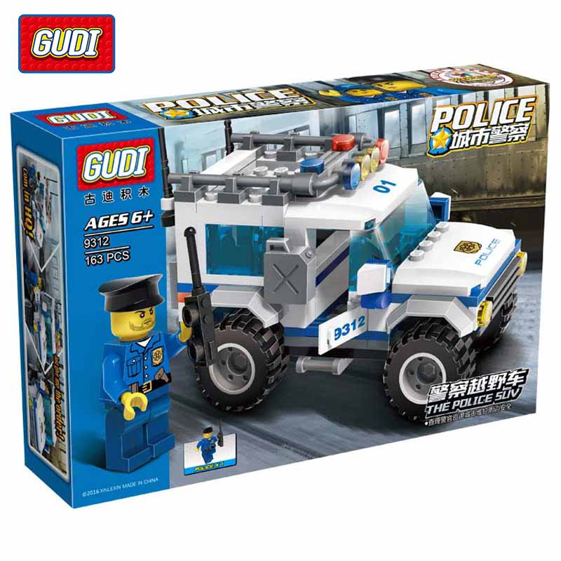 ФОТО gudi police suv educational toys assembled fight inserted plastic building blocks assembled toys for boys minifigure