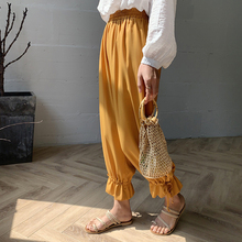 цена на Spring and summer new style Solid color cropped wide-leg pants Chiffon elastic waist loose wide leg pants