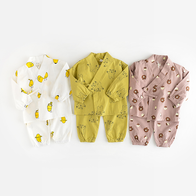 Newborn Baby Boy Girl 2 Pcs Clothing Set Cotton Cartoon print  Monk Tops Pants Casual Infant soft Clothes  Kids Sleepwear Suit