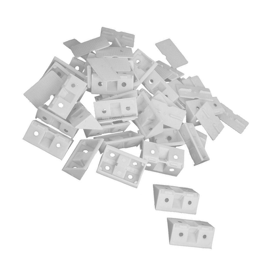 EWS  30pcs Shelf Cabinet 90 Degree Plastic Corner Braces Angle Brackets White