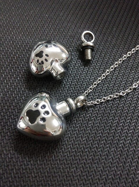 Heart with Paw Urn Necklace