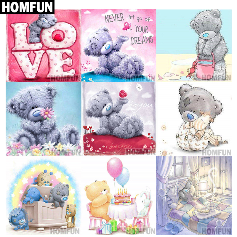HOMFUN Full Square/Round Drill 5D DIY Diamond Painting Cartoon bear 3D Embroidery Cross Stitch 5D Home Decor A03797 image