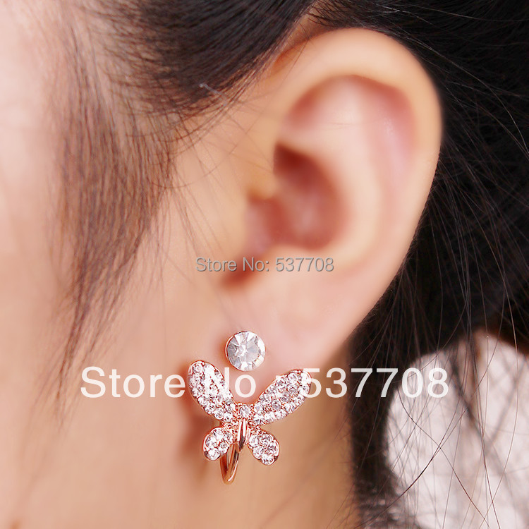 Fashion Full Imitation Diamond Butterfly Earings Rose Gold Color