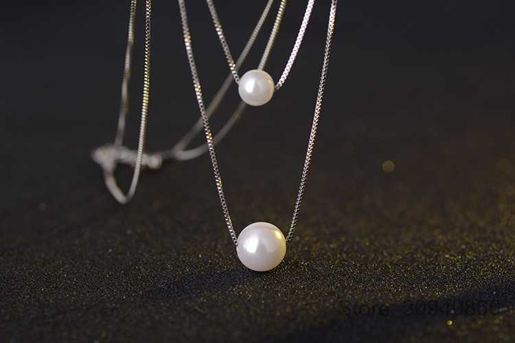 925 Sterling Silver Necklace Double Layer Chain Real Pearl Choker Necklaces & Pendants For Women kolye S-N156