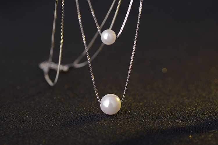 925 prata esterlina colar dupla camada corrente real pérola gargantilha colares & pingentes para mulher kolye S-N156