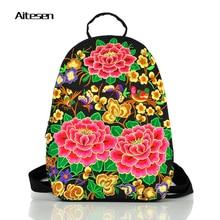 Новый Национальный вышивка холст дамы рюкзак людей досуга молодежи сумка trarel рюкзаки рюкзак