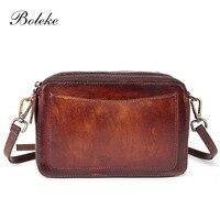Women Genuine Leather Crossbody Sling Bag Vintage Brush Color Leather Bag Casual Ladies Messenger Shoulder Bag