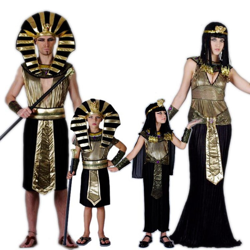 24Hours Ship Gold Egypt Pharaoh Costumes For Halloween Party Adults Clothing Egyptian King Men Prince Purim Fancy Dress