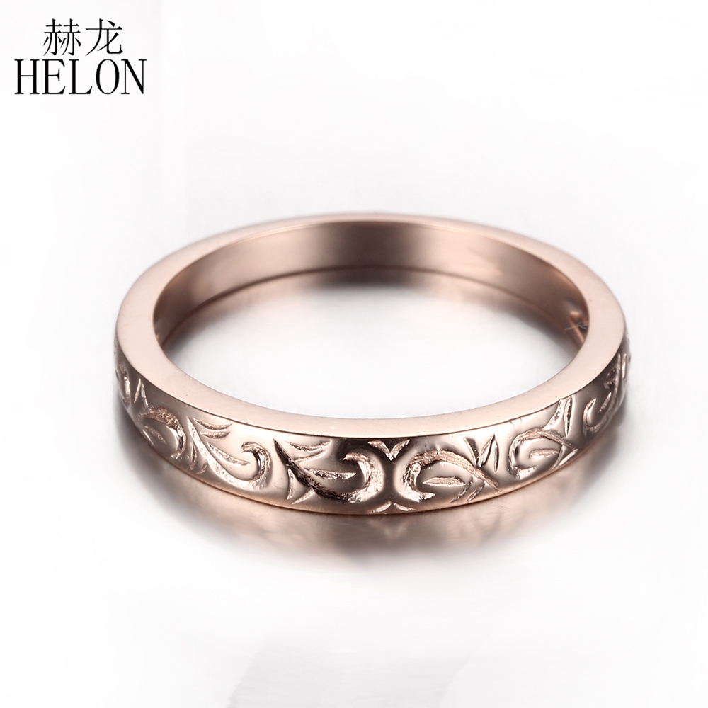 HELON Solid 10k (417) Rose Gold Nice Art Deco Anniversary Wedding Trendy Ring Band Engagement Classic Carving Fine Jewelry Ring helon diamond wedding ring band classic solid 10k rose gold engagement anniversary ring half eternity band for women s jewelry