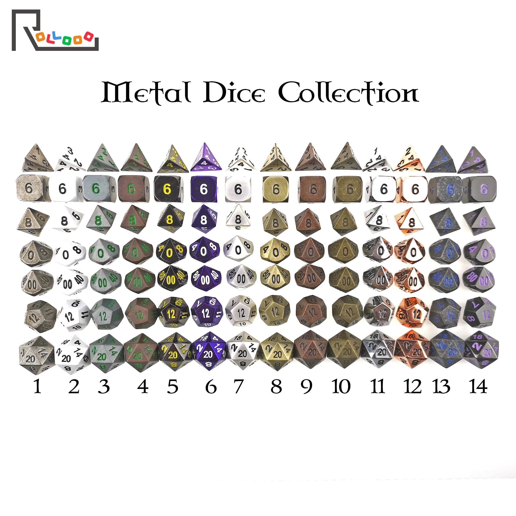 Rollooo 23 cores dnd metal dice coleção d & d conjuntos para rpg roleplaying jogos d4 d6 d8 d10 d % d12 d20