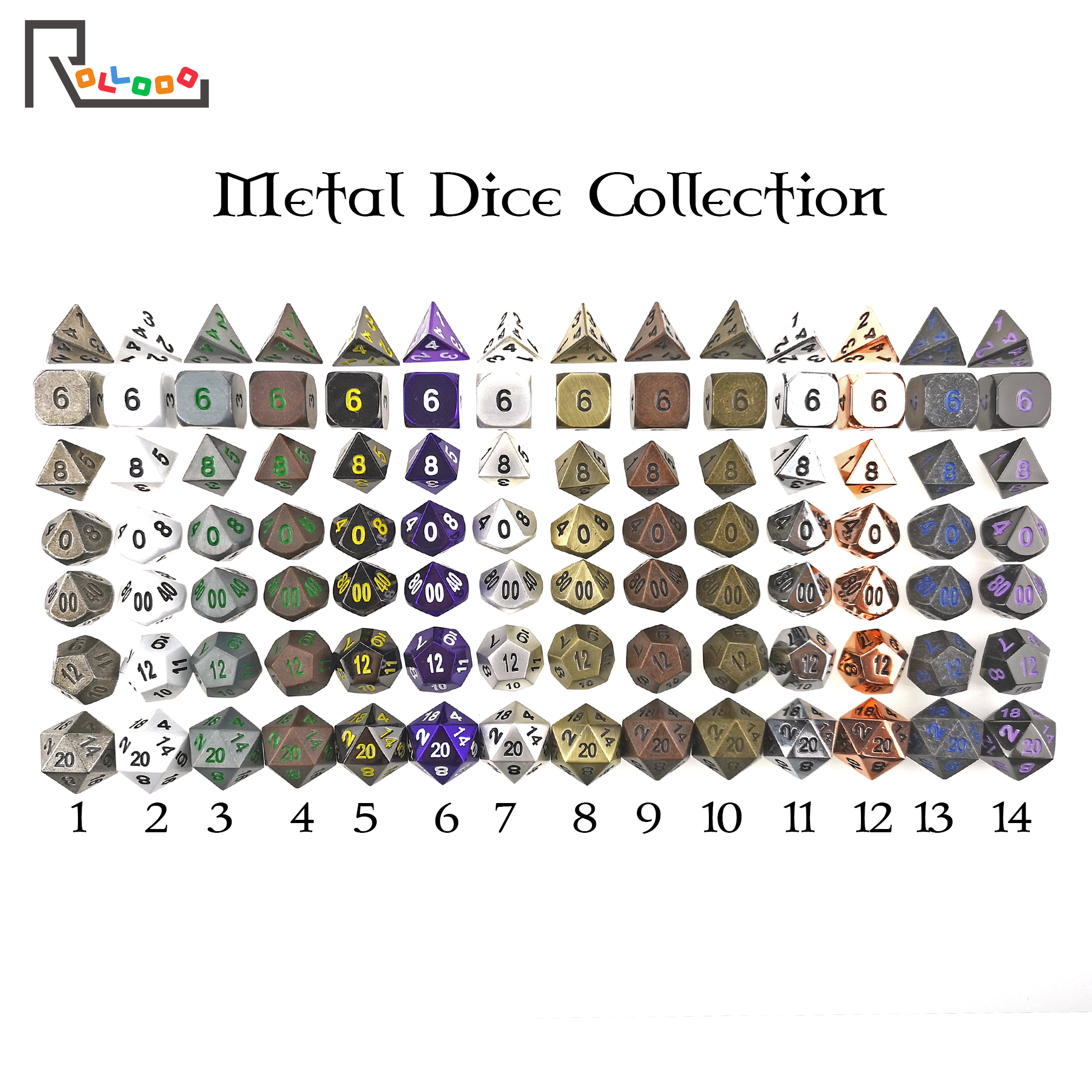 Rollooo DND Metal Dice Collection D&D Sets For RPG Roleplaying Games D4 D6 D8 D10 D% D12 D20