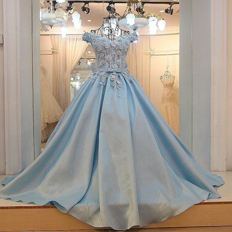 100% реальные фотографии аппликациями платье для выпускного вечера Атлас Милая Пол Длина Baby Blue Вечеринка платья 2018 с цветами