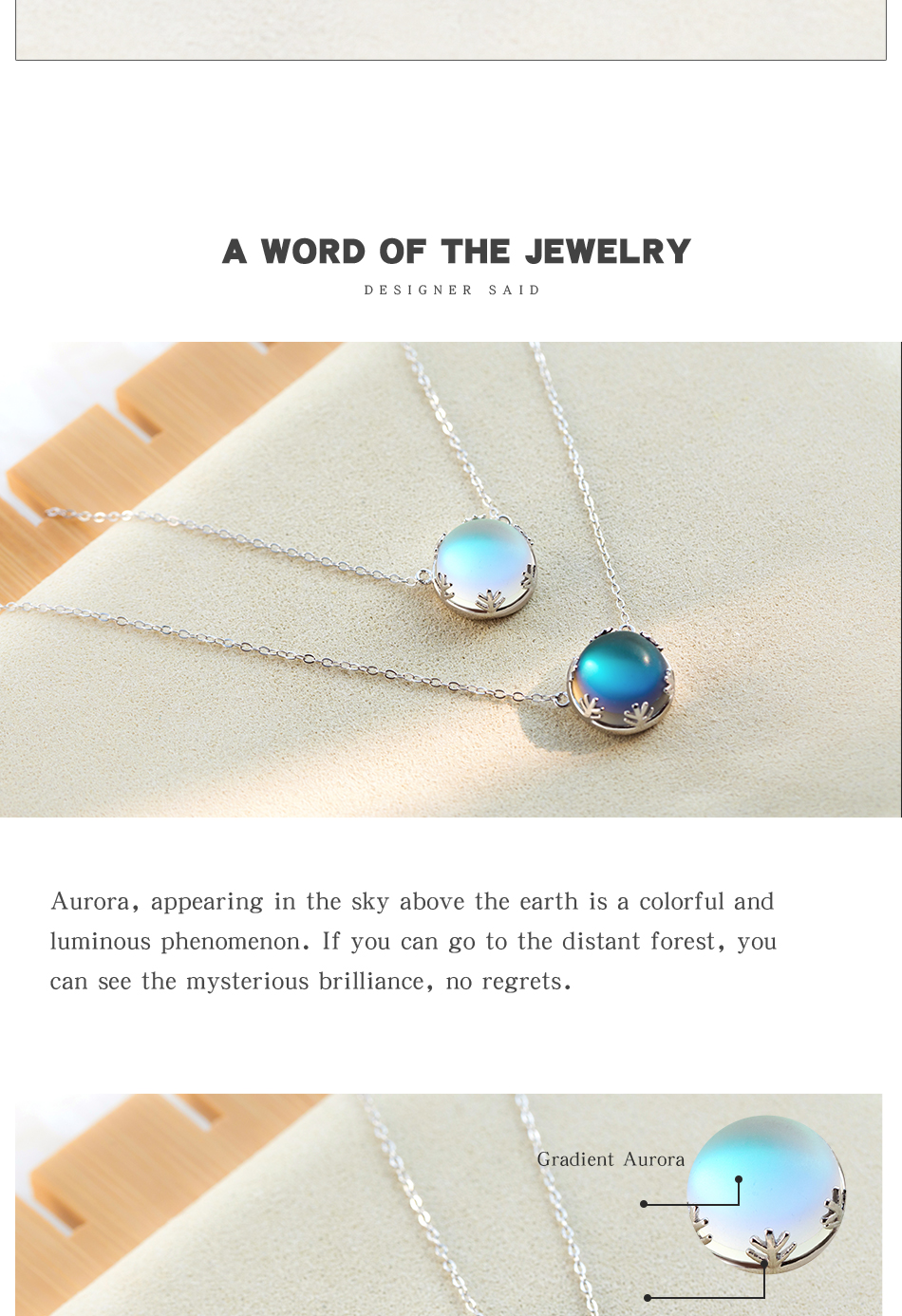 Handmade 925 Sterling Silver Aurora Forest Design Necklace Halo Crystal Stone