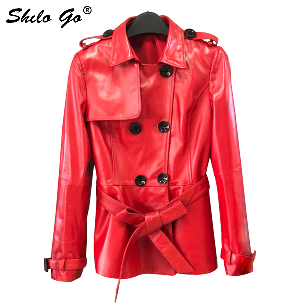 SHILO GO Leather   Trench   Womens Spring Fashion sheepskin genuine leather Long Coat lapel collar double breasted bow belt coat
