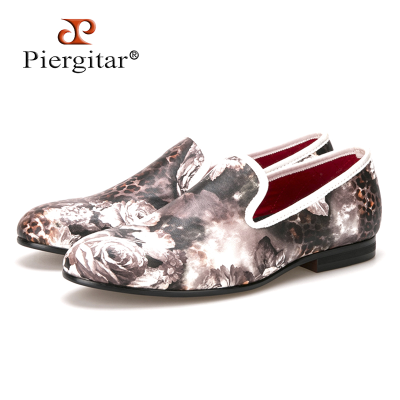 Piergitar 2017 new style Leopard and Flower printing men's loafers comfortable red cotton insole Men fashion casual shoes fashion tassels ornament leopard pattern flat shoes loafers shoes black leopard pair size 38