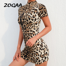 ZOGAA Leopard Print Sexy Slim Women Dress Knee Length Summer New Brand Cloth Sex Party Dresses Plus Size Female