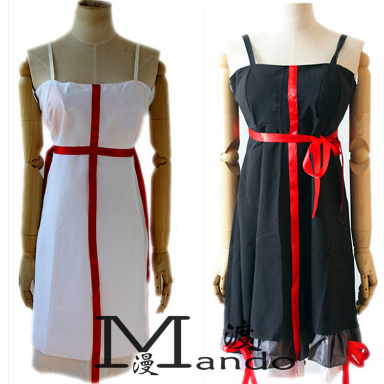anime sexy Guilty Crown cosplay Yuzuriha Inori cosplay costume white / Black dress for gril women clothing